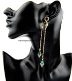 طويلة [ديموند-شبد] [دروب رّينغ] نمط نوع ذهب مجوهرات لأنّ بنات