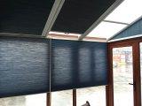 家の屋上のガラス窓は日よけのローラーシャッターミツバチの巣のブラインドを盲目にする