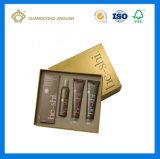 Caixa de presente de papel de empacotamento cosmética de creme de Skincare do cartão dourado da alta qualidade (com bandeja interna)