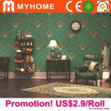 Papier peint de PVC de chambre à coucher de prix bas de Guangzhou floral
