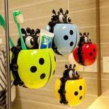 Высасыватель зубной пасты чашки шаржа ванной комнаты всасывания стены держателя зубной щетки Ladybug