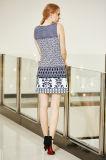 Платье Ponte лета круглой шеи безрукавный с печатание граници в Multi картинах