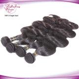 自然なカラーインドの波状のRemyの人間の毛髪のよこ糸
