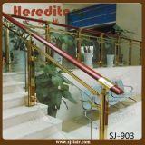 Goldfarben-Edelstahl-Glasbalustrade-Treppen-Geländer (SJ-903)