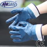 Перчатка безопасности работы нитрила Nmsafety сверхмощный голубым хранят маслом, котор