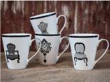 Animales de diseño al por mayor de 10 oz taza de cerámica con la etiqueta Inferior