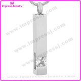 Pendente Cuboid dell'acciaio inossidabile dei monili delle ceneri con il cristallo Ijd9726