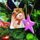 Sublimación ornamento de cerámica con árboles de Navidad Pendent Blanks