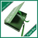 Het groene Vakje van het Document van het Karton van de Kleur Magnetische met Lint