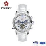 Reloj blanco de los hombres automáticos de Funcation China del día genuino/de la fecha de la correa de cuero