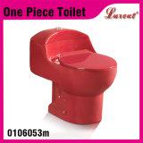 Toilette affleurante simple d'une seule pièce de rouge de vin de sens de l'eau de Siphonic de porcelaine