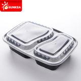 Schwarze niedrige Nahrungsmittelplastikbehälter mit unterschiedlichem innerem Tellersegment