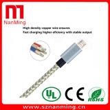 Câble usb de remplissage tressé en nylon de micro du câble 2.0 en métal mobile d'Accessorie 1/2/3m
