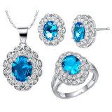 형식 구리 수정같은 지르콘 다이아몬드 반지 귀걸이 숨막히게 하는 것 목걸이 3 PCS 고정되는 보석