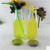 ジュースのための新しいデザイン300mlガラス飲料のびん、わらが付いている乳白ガラスのびんおよびふた