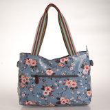 Blumenmuster imprägniern Belüftung-Segeltuch-blaue Handtasche (99192)