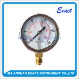 Bourdon Gauge presión del tubo de aceite rellena de líquido calibrador de presión de manómetro de acero inoxidable