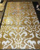Modelo de mosaico de cristal de oro para la decoración de la pared (HMP649)