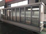 Supermercado comercial congelador de vidro usado do refrigerador da porta