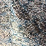 Cuero sintetizado de la PU del grano de lujo de la serpiente para los bolsos de los zapatos que hacen Hx-S1722