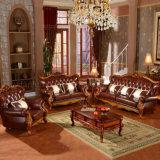 De klassieke Bank van het Leer met Houten Kabinetten voor het Meubilair van de Woonkamer