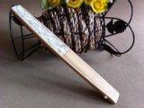 Ventilador de papel de bambú promocional de la mano con la impresión de encargo de la insignia