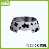 Cow Print Housse de Mealine détachable avec boite de chien en acier inoxydable