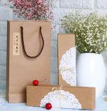 Sacos de papel pequenos luxuosos de Brown com punho