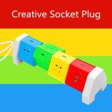 Многофункциональная цветастая штепсельная вилка прокладки электричества с поручать USB Port быстрый