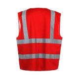 100% poliéster Tricot seguridad chaleco reflectante con cuatro colores