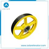 エレベーターの部品、ナイロンまたは鋳鉄のエレベーターのディフレクターのSheave、牽引のSheave (OS13)