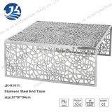 Nuevo diseño de la plantilla de corte por láser de acero inoxidable Muebles Mesa con vidrio templado