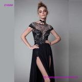 高い分割前部床長さの黒のイブニング・ドレス