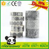 Cinta adhesiva adhesiva clasificada de Washi del colorante creativo del modelo DIY Papercrafts del diseño floral del negro del jardín secreto del OEM