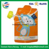 Bolsa de pie líquida plástica del canalón para el bolso de empaquetado del zumo de fruta