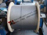 1.4401 A4 316 7X7 2mm a recuit le câble métallique d'acier inoxydable avec le poids net 16kg par 10000m