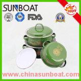 3PCS эмаль Saucepot установила с утюгом/стекловатой крышкой