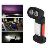 Hände geben Taschenlampe mit dem 360 Grad-drehenden hängenden Haken und magnetischem Unterseite 4*AAA PFEILER LED Arbeits-Licht 14+2 frei