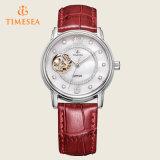 Montre-bracelet analogique de quartz d'acier inoxydable de cuir de femmes de montres de mode