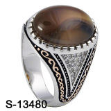 2016 nuovo Models Silver Men Rings con Natural Stone