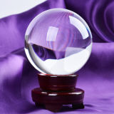 Wooden Base를 가진 Trasparent Crystal Glass Ball 또는 Crystal Base