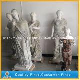 Blanc/beige/statue de marbre d'or/sculpture, découpage en pierre