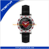 Leather Band Heart Decoration Dial Analog Watch para senhoras