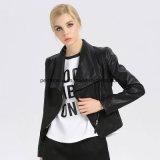 方法細い女性細いPUの革折りえりのコートの女性ジャケット