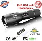 미국 EU 재충전용 최신 크리 사람 Xml T6 LED 3800lm 알루미늄 방수 Zoomable 토치 18650 또는 3*AAA 건전지 급상승 플래쉬 등