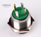 IP65 imperméabilisent les boutons poussoirs verts d'Illumianted (remise) de boucle momentanée de 16mm