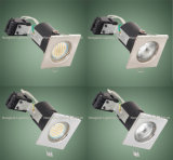 正方形90mins Fire Rated Recessed Ceiling COB Spotlight LED Down Light