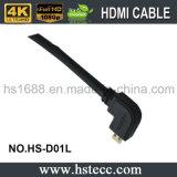 Verliet de Rechte hoek \ van de hoge snelheid Micro- HDMI van 90 Graad Kabel met 24k Goud Geplateerde Schakelaar