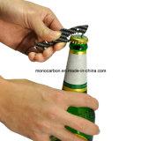 Nuevo diseño multifuncional fibra de carbono llavero abridor de botellas
