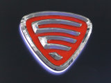 Vácuo acrílico retroiluminado que dá forma anunciando o logotipo do carro da iluminação